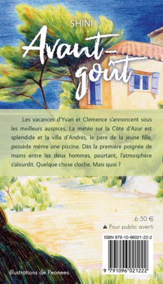 """4e de couverture de """"Avant-goût"""", par Shini, dessin de Peonees, YBY Éditions."""