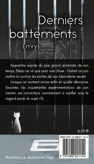 """4e de couverture de """"Derniers battements"""", dessin de Radioactive Taiga, par Emrys, YBY Éditions."""