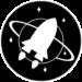 Logo de la collection Futurs incertains composé d'une fusée passant devant une planète avec des anneaux.