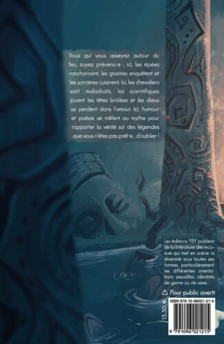 """4e de couverture de """"Légendes oubliées"""", recueil de nouvelles thématique, dessin de Valuiss, YBY Éditions."""