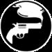 Logo de la collection Sombres frissons composé d'un pistolet produisant une fumée mystérieuse sur fond noir.