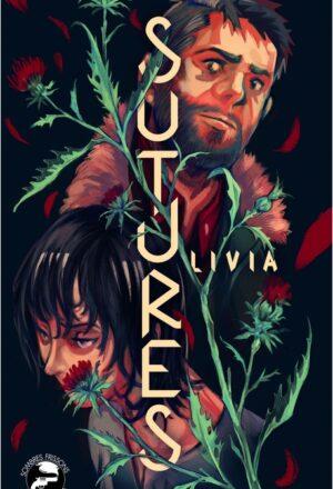 """Couverture de """"Sutures"""", par Livia, dessin de Gustave Auguste, YBY Éditions."""