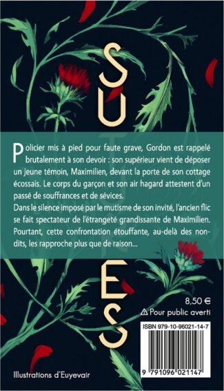 """4e de couverture de """"Sutures"""", par Livia, dessin de Gustave Auguste, YBY Éditions."""